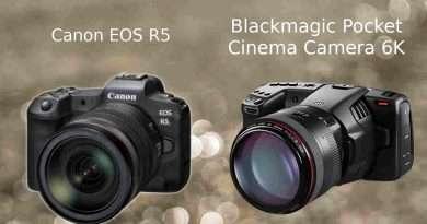 Canon EOS R5 vs Blackmagic BMPCC 6K camera comparison | Differences and similarities